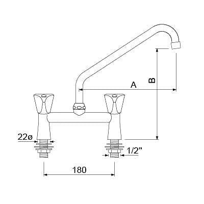 Grifo mezclador de dos orificios Classic conexión 1/2' con caño HU de 205 mm Longitud del caño 200 mm Agujero Mesa 2 Agujeros Mango 3 Canto
