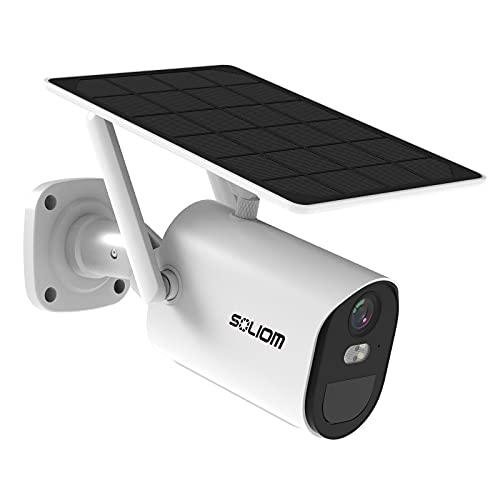 Solar-Security-Camera-Outdoor Wireless Battery Powered,1080p Home WiFi Security Camera,Spotlight Color Night Vision,Two-Way Talk,Siren Alarm, Motion Detection with schedulable Working time-SOLIOM B10