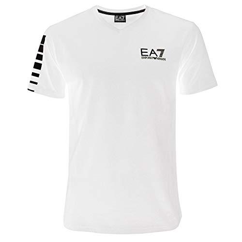 Emporio Armani Herren-T-Shirt EA7 3YPTB8 PJ02Z, kurzärmelig, V-Ausschnitt Gr. L, weiß