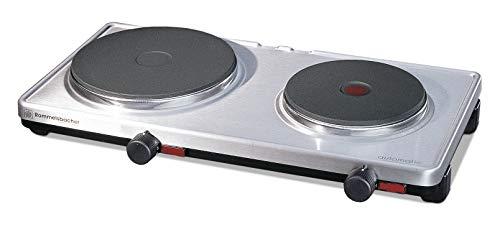 ROMMELSBACHER Automatik Doppelkochplatte AK 3099/E - Gehäuse aus Edelstahl, stufenlos regelbar, 2 Heizplatten 145 mm - 1500 Watt / 180 mm - 1500 Watt