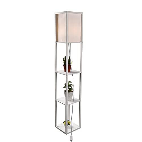 YU YUSING Stehlampe mit Holzregal Innenbeleuchtung 1,6m Holz Stehleuchte mit Regalen für Schlafzimmer und Wohnzimmer, Weiß 160X26X26cm
