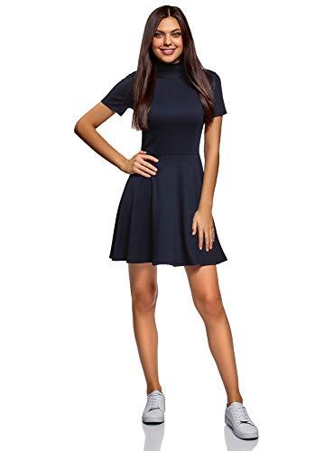 oodji Ultra Damen Kleid mit Stehkragen und Ausgestelltem Rock, Blau, DE 36 / EU 38 / S