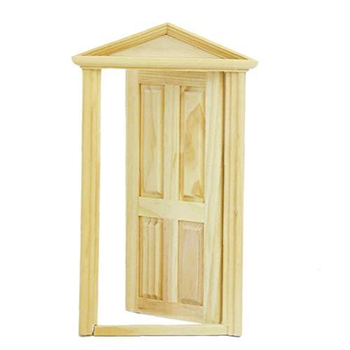 Mini Juguetes manguera Puerta Niños DIY decoración exterior de la puerta de madera maciza con Steepletop para adultos de los niños amarillo, Accesorios de los juguetes