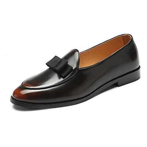 PANFU Gommino Beleg auf PU-Leder-Ober Burnished Art Spitzschuh Leichte Anti Slip Bowknot Dekor Driving Loafers for Männer (Color : Bronze, Size : 39)