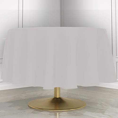 Kadut White Tablecloth - 90' Inch Round White Tablecloths for Circular Table Cover in White Washable Polyester - Great for Buffet Table, Parties, Holiday Dinner & More