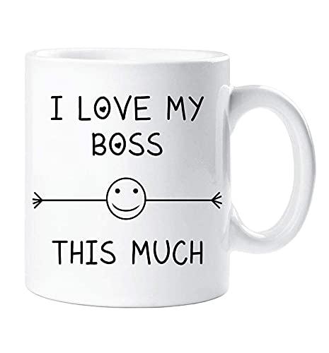 Amo il mio capo Questa tazza molto amico Impiegato d'ufficio Segreto Babbo Natale Compleanno Natale Novità Umorismo Divertente SQWFOI