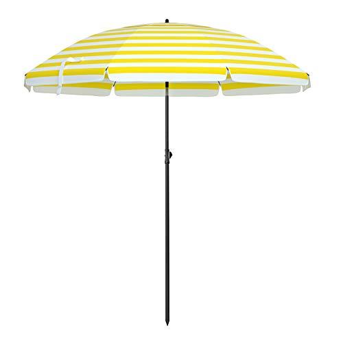 SONGMICS Sonnenschirm für Strand, Ø 200 cm, Gartenschirm, UV-Schutz bis UPF 50+, knickbar, tragbar, Schirmrippen aus Glasfaser, gelb-weiß gestreift GPU65YW