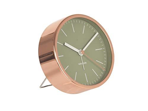 Karlsson Wekker minimal bladgroen met frame koperkleuren, plastic, groen, 10x10x4 cm