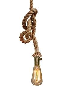 PureLume(TM) Vintage Seil Messing Hängelampe mit Edison Nostalgie 40W Glühbirne – Antik Retro Seilleuchte