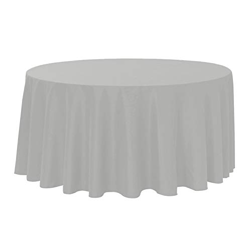 "Your Chair Covers, Round Polyester Tablecloths, 132"", Gray"