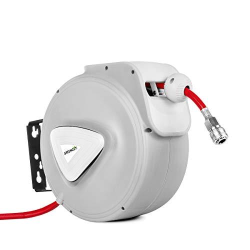 GREENCUT MNA100 - Manguera de aire comprimido de 10m con enrollador automatico, soporte de pared y presion de trabajo 8bars