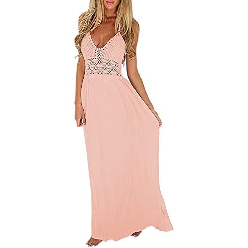 pamkyaemi Maxi-jurk voor dames, lange zomerjurk, elegant, sexy, V-hals, mouwloos, vintage, effen, hoge taille, elastische strandjurk, feestjurk