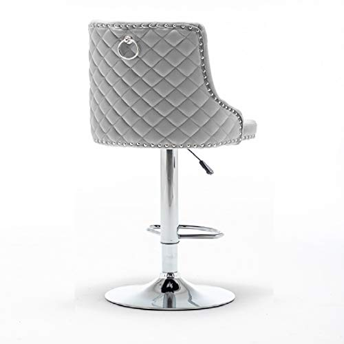 Single Grau Samt Barhocker mit Ring Klopfer Zurück Höhenverstellbare Barstühle Barstuhl Küchenstühle 360° Drehstuhl & Fußstütze (1 x Grau Barhocker)