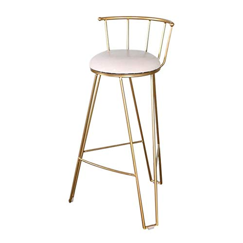 Barkrukken Barkruk Eetstoel met gestoffeerde voetsteun en rugleuning Ontbijtkruk voor de keuken Pub Bistro Terras Caf Bar balie Barkruk Heavy Duty Max. 200 kg lading, goud gepoedercoat Seat Height:65cm