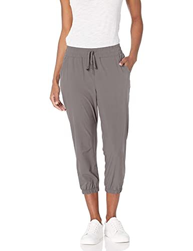 Amazon Essentials Women's Studio Woven Stretch Crop Jogger Pant, Grey, Medium