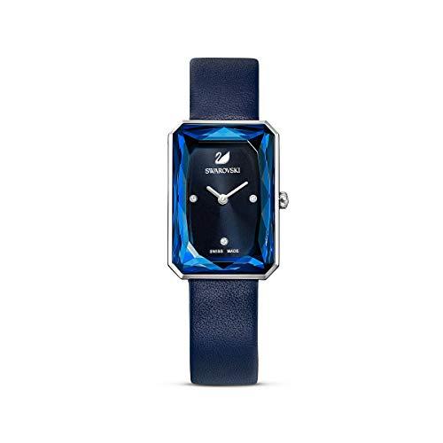 Swarovski Orologio Uptown, cinturino in pelle, blu, acciaio inossidabile