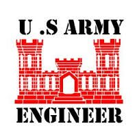 Military, U.S. Army Engineer, Vinyl Car Decal, Red', 5-by-5 inches'
