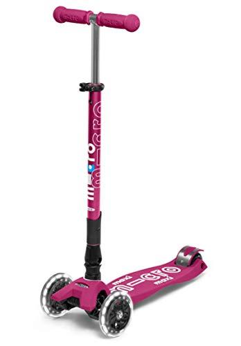 Micro Kickboard – Maxi Deluxe Faltbare LED – Dreirad, Lean-to-Steer, zusammenklappbarer Mikro-Scooter für Kinder mit bewegungsaktivierten Leuchtrollen für Kinder im Alter von 5–12 Jahren (Berry Red)