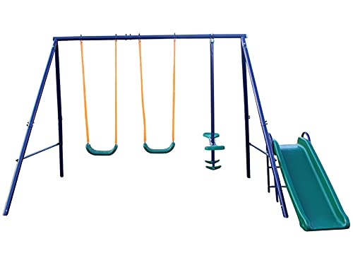 KL KLB Sport Metal Swing Set Outdoor with Glider and Slide for Kids, Toddlers, Children