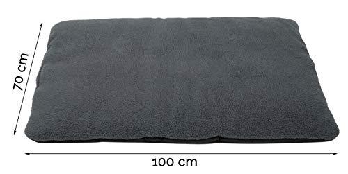 ZOLLNER Hundebett Hundekissen 70×100 cm, Farbe anthrazit, Antirutschnoppen - 3