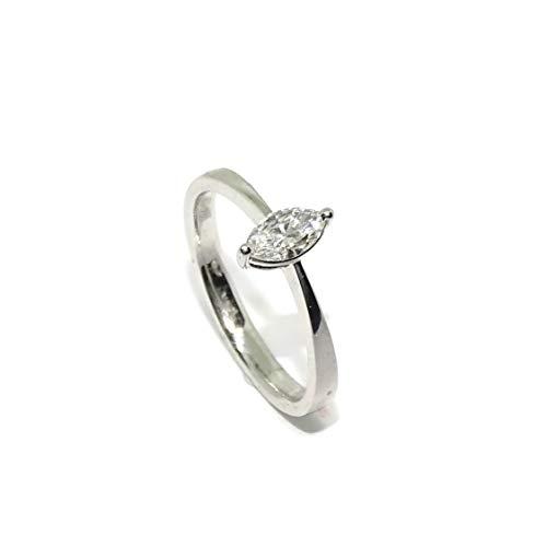 Never Say Never Solitario de Oro Blanco de 18k con Diamantes de Impresionante Calidad para tu sortija de pedida, sortija de Boda. (Oro Blanco, 0.32)