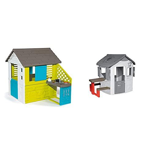Smoby – Pretty Haus - Spielhaus für Kinder für drinnen und draußen, mit Küche und Küchenspielzeug (17 teilig) & Picknicktisch für Smoby Spielhäuser – Zubehör für Spielhaus, Sitzbank mit Tisch
