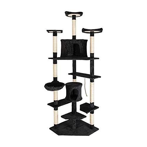 LANGTAOMY Árbol para Gatos 80'Sólido Linda Sisal Cuerda Cuerda de Cat Tree Cat Tower Sisal Hemp Cat Tower Tower Pet House Play Gatito con Cozy Perches Árbol (Color : Black)
