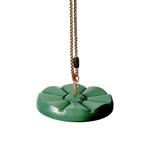MiduoHu Columpio Infantil de Exterior Asiento de Columpio de Plástico con Cuerda Ajustable Carga Antideslizante para Niños Tabla de Columpio Redonda de Jardín Patio de Recreo (Color : Green)