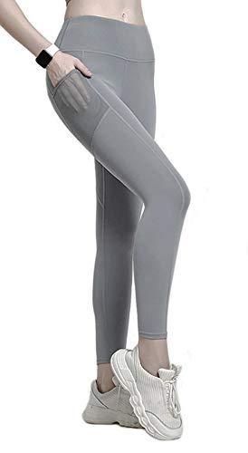 PlusFit Leggings Deportivo de Mujer Cintura Alta Mallas Running Training Fitness Yoga (L, Gray)