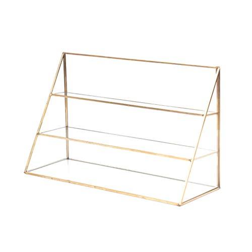 JYDQM Transparente de exhibición de Tres Capas de Vidrio de Metal Transparente, Rack de Almacenamiento de Cuentas de joyería cosmética