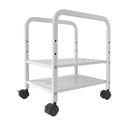 Computer Tower Stand, Desktop CPU Tower Case Holder, Adjustable 2-Tier ATX-Case CPU Mobile Rolling Cart, Underdesk Tower Case Cart with Locking Caster Wheels, White