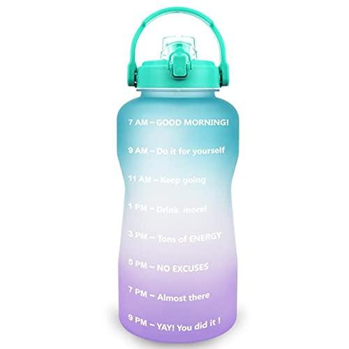 Botella de Agua de 2L 64OZ 3.8L 128OZ galón con Tapa Tipo BPA Botella de Bebida Soporte para teléfono Deportivo portátil Botella de Agua para Gimnasio - 3.8L, Morado Claro