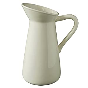 Silk Flower Arrangements Hosley Cream Ceramic Pitcher Vase is 10 Inches High and is Perfect for Flowers or Decorative Use and is Ideal for Dried Floral Arrangements Gifts for Home Weddings Spa and Aromatherapy Settings O3