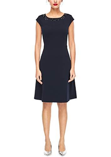 s.Oliver BLACK LABEL Damen Tailliertes Kleid mit Schmucksteinen True Blue 40
