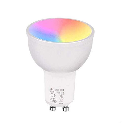 Smart WiFi LED Bulb, 5W GU10 LED Bulbs Dimmable RGB + Cool Light + Warm Light Trabaja con Alexa Echo, Google Home, no requiere concentrador, control de voz/aplicación