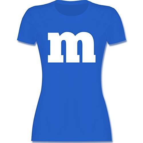 Karneval & Fasching - Gruppen-Kostüm m Aufdruck - M - Royalblau - m&ms t-Shirt - L191 - Tailliertes Tshirt für Damen und Frauen T-Shirt