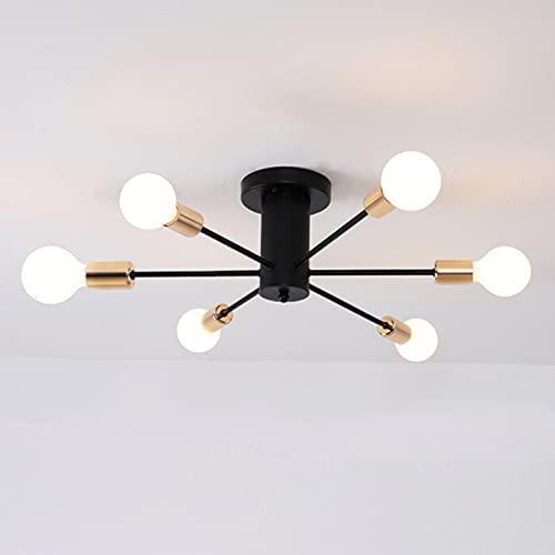 Lámpara de techo industrial Sputnik, lámpara de techo Sputnik negra vintage, 6 luces, lámpara de techo de montaje semi empotrado para dormitorio, sala de estar (bombilla no incluida)