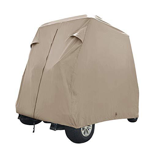 Seamander Waterproof Golf Cart Cover 2-4 Passenger Dustproof Storage for EZ Go Club Yamaha (Beige, M:Fit for 2 Passenger)