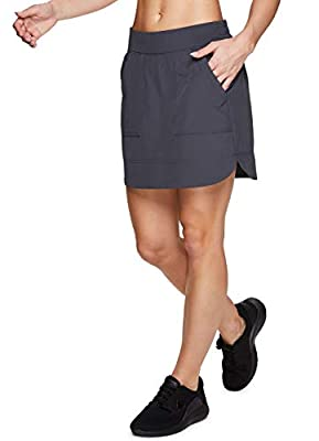RBX Active Women's Fashion Stretch Woven Flat Front Golf/Tennis Athletic Skort with Attached Bike Shorts and Pockets New Spring Charcoal M