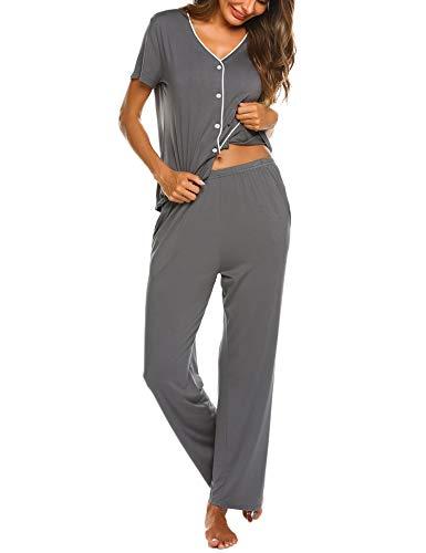 Schlafanzuge Damen Kurz Pyjama Set Kurzarm Nachtwäsche V-Ausschnitt Sleepshirt Zweiteiliger Shirt lang Hosen Sommer, 5161_grau, XXL