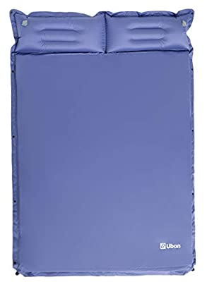 Ubon Double Self-Inflating Sleeping Pad Sleeping Mat for Camping with Pillows Attached Camp Sleep Pad for Backpacking Hiking Air Mattress Lightweight Inflatable & Compact, Navy