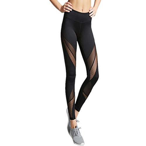 Eaylis Damen Hohe Taille Sport Leggings, Damen Patchwork-Netz Sport Leggings, Yoga Sporthose, Damen Leggings, Classics Stretch Workout Fitness Jogginghose (Schwarz, M)