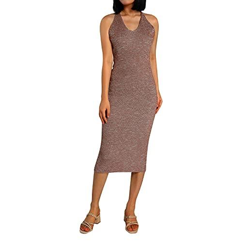 Vestido sexy para mujer, vestido de verano para mujer, color sólido, cuello halter sin mangas, de una sola pieza