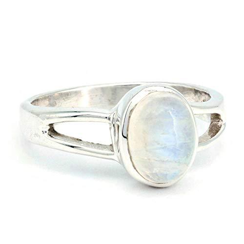 Ring Silber 925 Sterlingsilber Regenbogen Mondstein weiß Stein (Nr: MRI 180), Ringgröße:48 mm/Ø 15.3mm