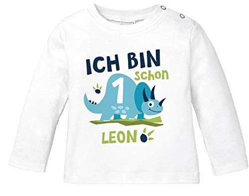 SpecialMe® Baby Langarm-Shirt mit Namen und Zahl 1/2 Geschenk zum Geburtstag Dinosaurier Dino für Jungen 1 Jahr weiß 80/86 (10-15 Monate)