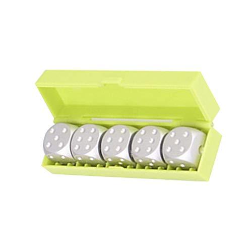 5 stks/set aluminium 16mm dobbelstenen, ronde hoek 6 zijdige blokjes spot dobbelstenen ronde hoek met doos voor thuis party spelen bordspellen