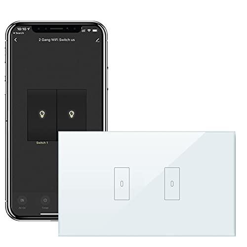 LoraTap Interruttore Smart WiFi Italiana 2 Canali per Luce 10A, Interruttore Touch de Parete Wireless Timer Switch, Controllo Remoto con App Smart Life, Compatibile con Alexa Echo e Google Home