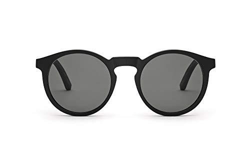 TAKE A SHOT Holz-Sonnenbrille Damen Herren Rund Schwarz Schmal Runde Gläser, UV400 - Schwarze Sonnenbrille Holz LUKAS