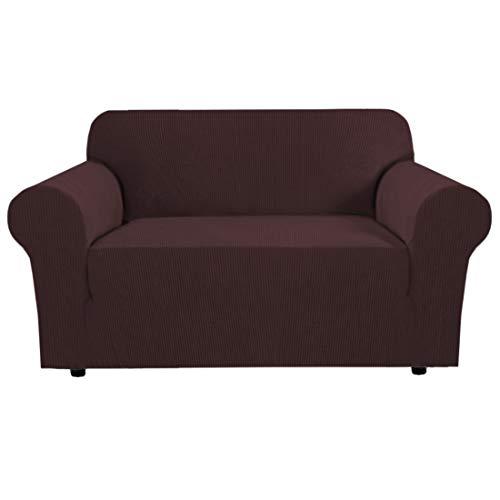 BellaHills Stretch Sofa Schonbezug - Spandex rutschfeste weiche Couch Sofabezug, waschbarer Möbelschutz mit rutschfestem Schaum und elastischem Boden für Kinder, Haustiere (2 Sitzer, braun)