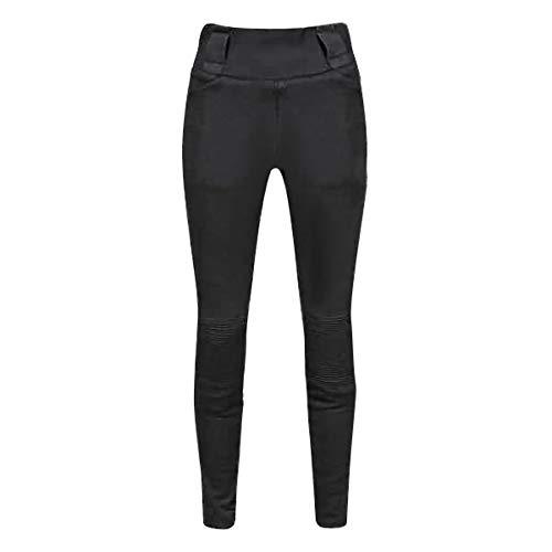 JET Pantalones Moto Motocicleta Mujer Legging Refuerzo de Aramida Kevlar Corte Delgado Ultra Estiramiento Protectores de cadera y rodilla LUNA (EU 34 - Largo, Negro)